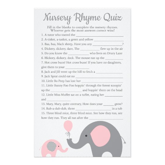 Pink Elephant Baby Shower Nursery Rhyme Quiz Flyer