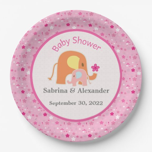 Baby Shower Plate: Pink Elephant Baby Shower Paper Plate