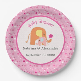 Pink Elephant Baby Shower Paper Plate 9 Inch Paper Plate