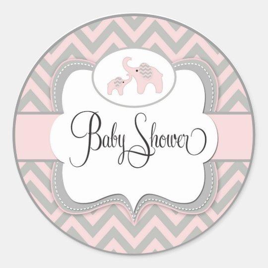 Pink Elephant Baby Shower Sticker Zazzle Com