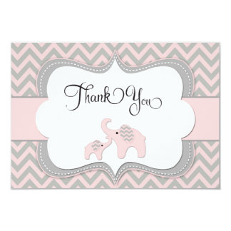 Attractive Pink Elephant Baby Shower Thank You Card