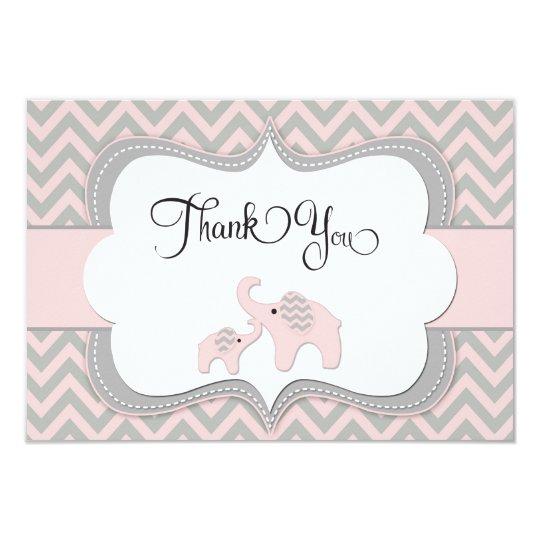 Pink Elephant Baby Shower Thank You Card | Zazzle
