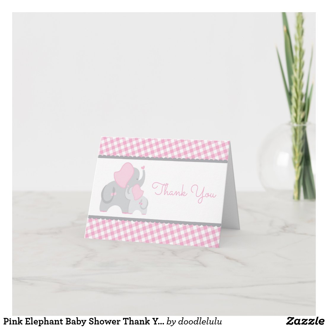 Pink Elephant Baby Shower Thank You Card, Gingham