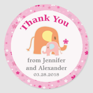 Pink Elephant Baby Shower Thank You Sticker