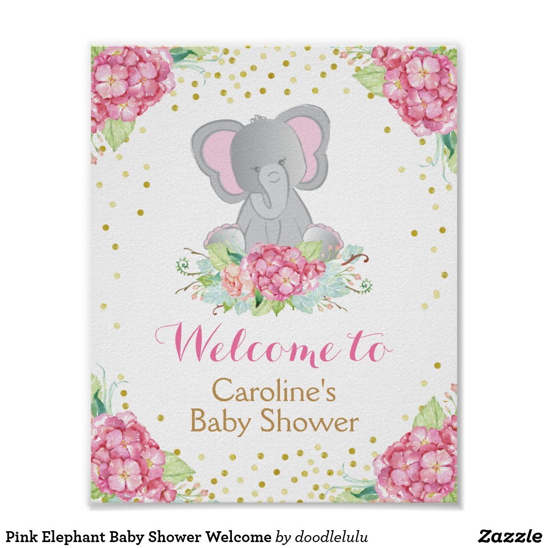Pink Elephant Baby Shower Welcome Poster