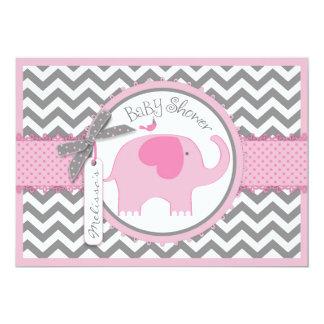 Pink Elephant Bird and Chevron Print Baby Shower 5x7 Paper Invitation Card