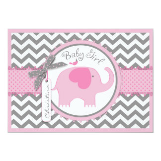 Pink Elephant Bird and Chevron Print Baby Shower Card
