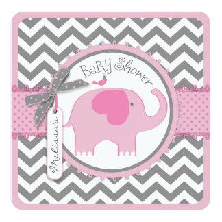 "Pink Elephant Bird and Chevron Print Baby Shower 5.25"" Square Invitation Card"