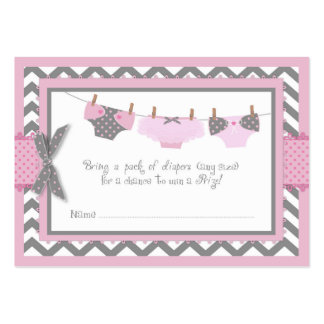 Pink Elephant Bird and Diaper Raffle Ticket Large Business Card