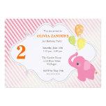 Pink Elephant Birthday Invitation