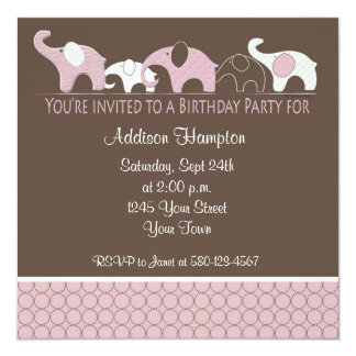 "Pink Elephant Birthday Party Invitation 5.25"" Square Invitation Card"