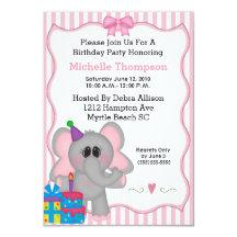 Pink Elephant Birthday Party Invitations