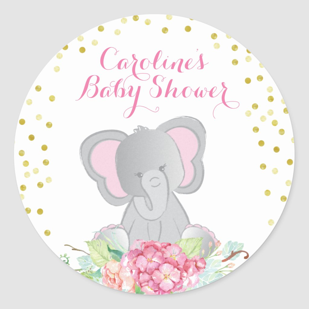 Pink Elephant Boho Baby Shower Classic Round Sticker