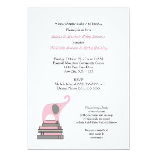 Pink Elephant Book Baby Shower / Books Brunch girl 5x7 Paper Invitation Card