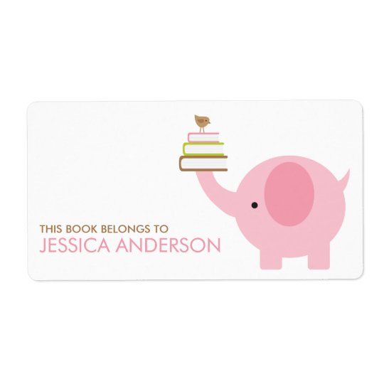 Pink Elephant Bookplates Labels