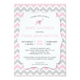 PInk Elephant Bring a Book Baby Shower invite