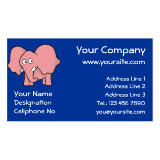 Pink elephant cartoon business card