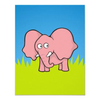 Pink elephant cartoon card