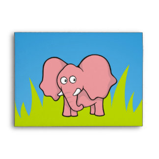Pink elephant cartoon envelope
