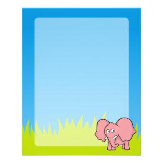 Pink elephant cartoon flyer