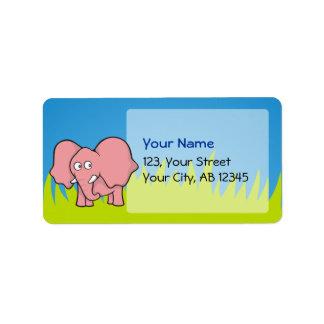 Pink elephant cartoon label