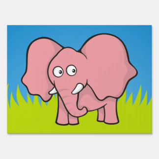 Pink elephant cartoon lawn sign