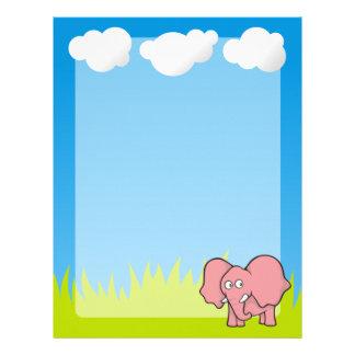 Pink elephant cartoon letterhead