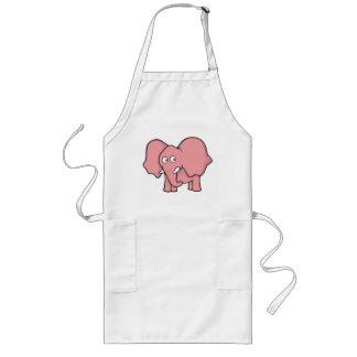 Pink elephant cartoon long apron