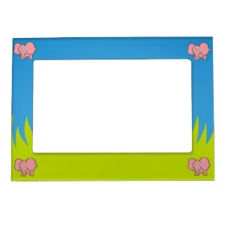 Pink elephant cartoon magnetic picture frame