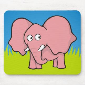 Pink elephant cartoon mouse pad