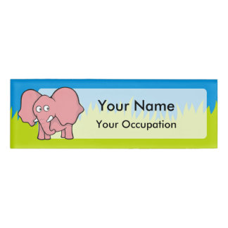 Pink elephant cartoon name tag