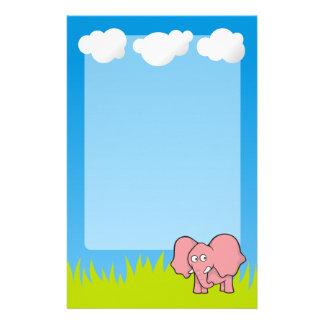 Pink elephant cartoon stationery