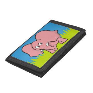 Pink elephant cartoon tri-fold wallet