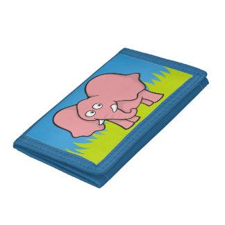 Pink elephant cartoon tri-fold wallets