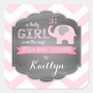 Pink Elephant Chevron Baby Shower Square Sticker