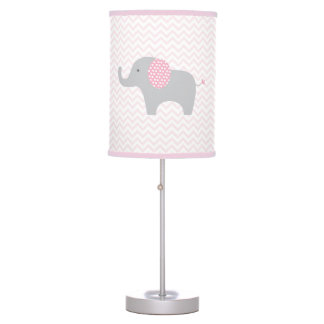 Pink Elephant Chevron Nursery Lamp