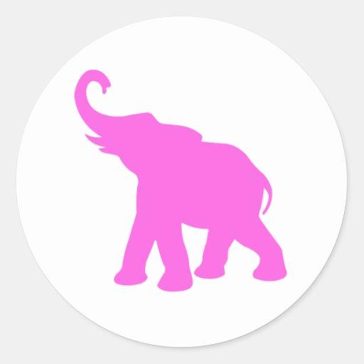 Pink Elephant Classic Round Sticker