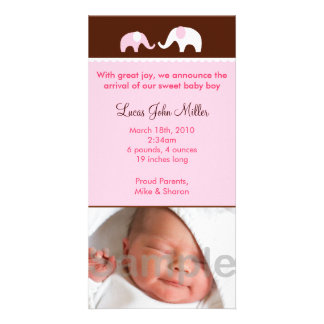 Pink Elephant Custom Photo Birth Announcements Customized Photo Card