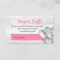 Pink Elephant Diaper Raffle Cards