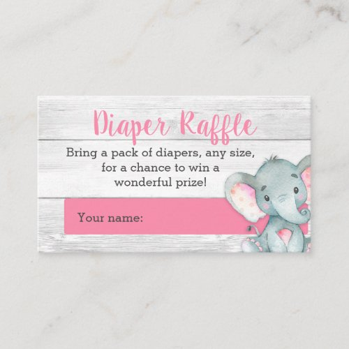 Pink Elephant Diaper Raffle Cards