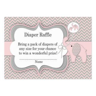Pink Elephant Diaper Raffle Ticket Large Business Cards (Pack Of 100)