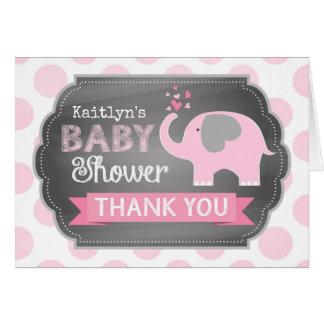 Pink Elephant Dot Print Thank You Card