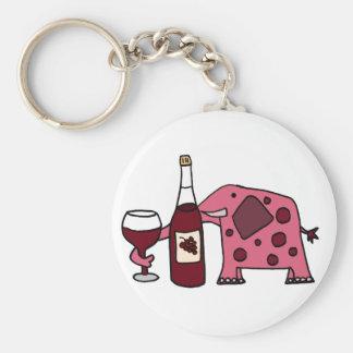 Pink Elephant Drinking Wine Basic Round Button Keychain