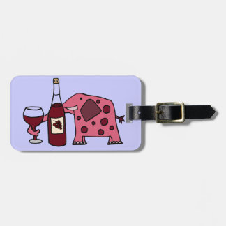Pink Elephant Drinking Wine Luggage Tag