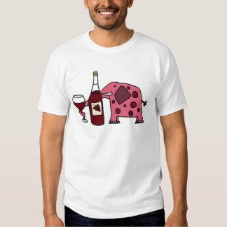 Pink Elephant Drinking Wine Shirt