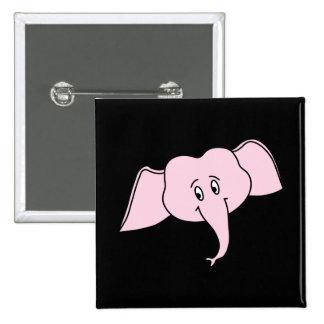 Pink Elephant Face. Cartoon Button