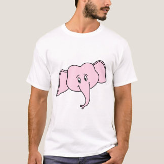 Pink Elephant Face. Cartoon T-Shirt