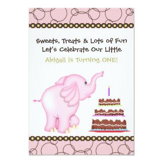 "Pink Elephant First Birthday Invitation for Girls 5"" X 7"" Invitation Card"