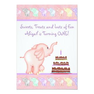 "Pink Elephant First Birthday Party Invitation 5"" X 7"" Invitation Card"
