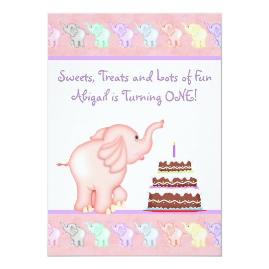 Pink Elephant First Birthday Party Invitation